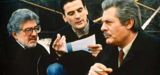 Ettore Scola, Massimo Troisi e Marcello Mastroianni sul set del film Che ora è?