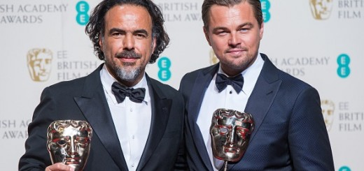LONDON, ENGLAND - FEBRUARY 14: Alejandro Gonzalez Inarritu and Leonardo DiCaprio pose in the winners room at the EE British Academy Film Awards at The Royal Opera House on February 14, 2016 in London, England. (Photo by Samir Hussein/WireImage)