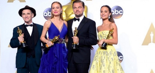 HOLLYWOOD, CA - FEBRUARY 28: (L-R) Actor Mark Rylance, winner of the award for Best Actor in a Supporting Role for 'Bridge of Spies'; actress Brie Larson, winner of the award for Best Actress in a Leading Role for 'Room'; actor Leonardo DiCaprio, winner of the award for Best Actor in a Leading Role for 'The Revenant'; and actress Alicia Vikander, winner of the award for Best Actress in a Supporting Role for 'The Danish Girl,' pose in the press room during the 88th Annual Academy Awards at Loews Hollywood Hotel on February 28, 2016 in Hollywood, California. (Photo by Steve Granitz/WireImage)