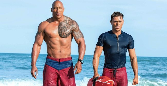 Baywatch red band trailer (2017) Dwayne Johnson as Mitch Buchannon and Zac Efron as Matt Brody